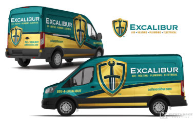 hvac and plumbing truck wrap for Excalibur