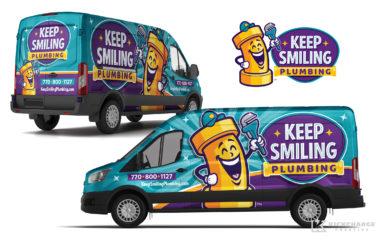 plumbing truck wrap for Keep Smiling Plumbing