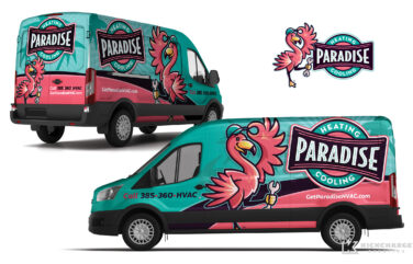hvac truck wrap for Paradise Heating & Cooling